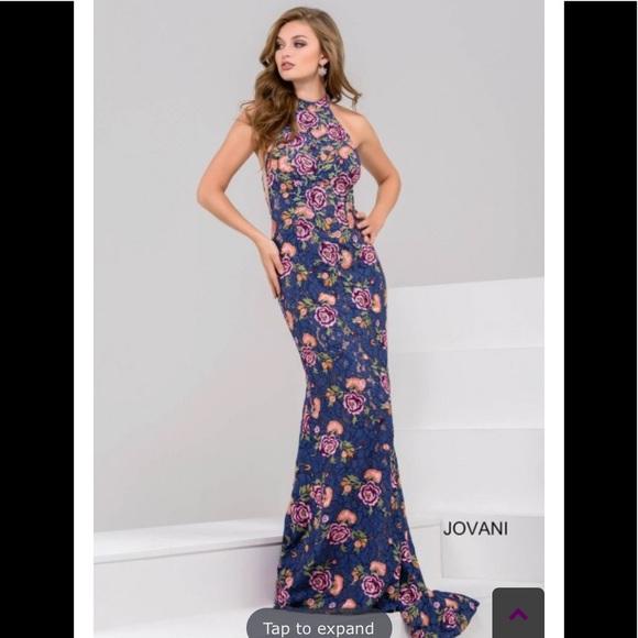 605324fabcb Jovani high neckline floral gown